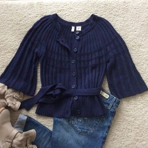 Moth Bell Sleeve Navy Blue Cardigan Sweater Tie S